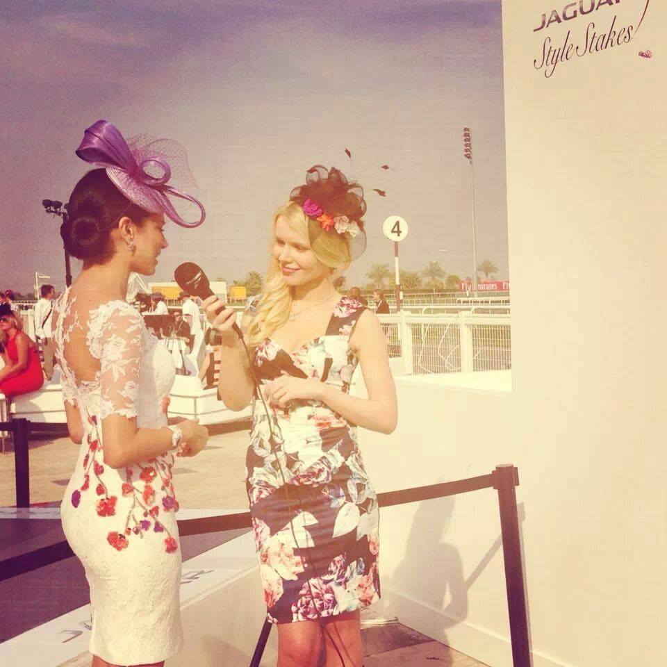 interviewing Jessica Kahawaty - Miss World 2nd runner-up at the Dubai World Cup 2014 for Fashion One