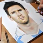 Dívka nakreslila 3D portrét fotbalisty Lionela Messiho